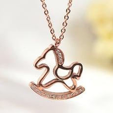 玫瑰金純銀項鍊 鑲鑽吊墜-時尚情人節禮物可愛木馬飾品71x33【米蘭精品】