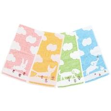 【日本製Jogan】繪本風純棉手帕/無捻紗手帕-粉小兔/黃小貓/綠小狗/藍大象