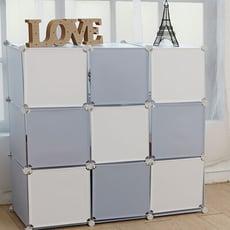 【居家寶盒】ikloo~9格9門DIY百變收納櫃 創意收納組合櫃 鞋櫃鞋架收納箱置物屏風櫃