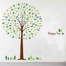 居家寶盒【YP1374】高品質創意牆貼/壁貼/背景貼/磁磚貼/壁貼樹 時尚組合壁貼 快樂樹 AY95