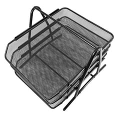 【居家寶盒】A4金屬鐵網三層文件架 三層三欄桌面辦公收納架 文件收納架 文件盤 資料架 抽屜式 桌面