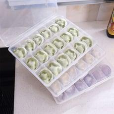 【居家寶盒】1入單層18格帶蓋按扣式餃子盒 冷凍水餃 收納盒 防止水餃沾黏 可疊加 創意廚房用品