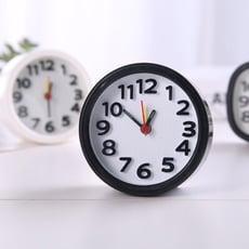 【居家寶盒】簡約時尚靜音鬧鐘 圓形黑白鬧鐘 辦公家用 桌面臥室 學生時鐘 床頭小鬧鐘 指針鬧鐘