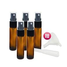 【漾美】防疫必備10毫升茶色玻璃噴霧瓶 噴瓶 分裝瓶贈漏斗及吸管 適合酒精、消毒液