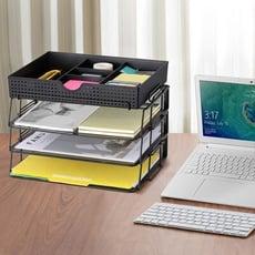 【漾美】桌上辦公 資料/檔案/公文/文件收納盒 收納籃 附文具整理盒