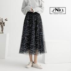 時尚多層次斜紋網紗撞色鬆緊腰長裙(S-L適穿)-現貨快出【C0W2174】 iNio 衣著美學