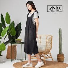 微刷舊牛仔吊帶裙吊帶長裙-現貨快出【C1W3002】 iNio 衣著美學