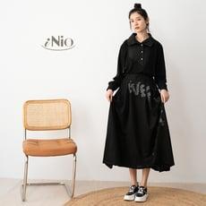 印字設計鬆緊腰黑色長裙(S-L適穿)-現貨快出【C0W2105】 iNio 衣著美學