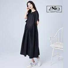 腰際弧形抓皺設計短袖洋裝-現貨快出【C1W3030】 iNio 衣著美學