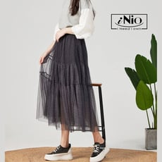 格紋鬆緊腰雙層長紗裙-現貨快出【C1W2001】 iNio 衣著美學