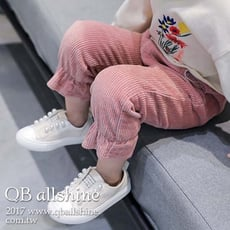 【QB allshine】女童長褲 甜美束腳口喇叭口袋絨質長褲