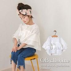 女童上衣 雙層花邊大喇叭袖短版上衣 韓國外貿中大童 QB allshine 19612013