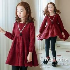 女童洋裝 甜美V領民族風蛋糕層次娃娃連身裙 韓國外貿中大童 QB allshine 19612002
