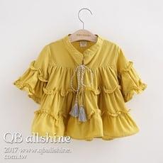 【QB allshine】女童上衣 甜美蛋糕層次荷葉流蘇七分袖襯衫