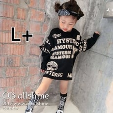 【QB allshine】男童上衣 女童上衣 個性搞怪寬鬆漆印飛鼠長袖寬大T