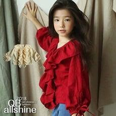 女童上衣 甜美V領荷葉邊公主風娃娃長袖上衣 韓國外貿中大童 QB allshine 19612037