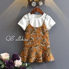 【QB allshine】女童洋裝 韓版純白內搭短袖T恤+吊帶碎花魚尾連身裙 兩件式套裝