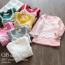 【QB allshine】女童上衣 甜美蕾絲假兩件木耳卷邊小高領長袖T恤