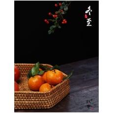 秋藤手工編織水果籃家用茶具收納筐桌面果盤面包筐干果零食收納盒