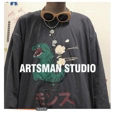 長袖T恤秋季韓版復古卡通印花長袖T恤男寬鬆潮流打底衫連帽T恤