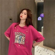 寬鬆打底衫上衣夏季新款韓版網紅亮片卡通印花短袖T恤女潮