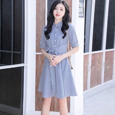 衣綺衣著【L2002】五分袖翻領洋裝直條紋顯瘦短袖連身裙