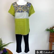 衣綺衣著 復古花卉條紋拼接棉麻寬鬆女裝加大碼女生上衣 716214