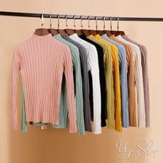 包芯紗韓版素色顯瘦中高領針織毛衣(多色任選)