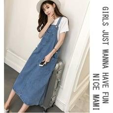 牛仔吊帶裙 【D5390】 牛仔裙 吊帶裙 背心裙 長裙 長洋裝