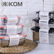 KOM日式不鏽鋼保鮮盒三件組-任選(蜜桃橘/冰酷黑)