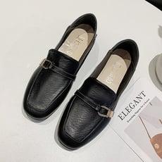 韓時尚典雅簡約樂福鞋-黑色