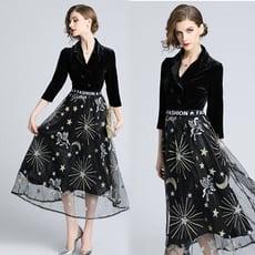 復古優雅蕾絲長版洋裝(1色)