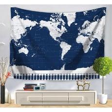 床頭掛毯 世界地圖標示掛布