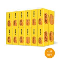 【簡約組合】優質抽取式衛生紙100抽x10包x10串/箱-黃色款