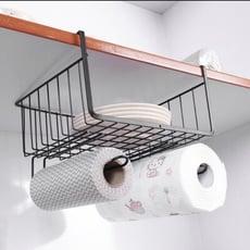 鐵線工藝簡約線條 背掛設計免釘免黏 輕鬆收納居家雜物 可置物可懸掛(黑色)