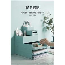 辦公室桌面文具整理套裝組 桌面收納盒(A4收納盒*3、小收納盒*1、筆筒*1)