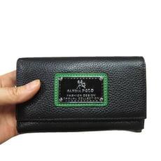 中夾100%進口牛皮革材質中型皮夾三折式暗釦主袋口中性款多夾層男女適用