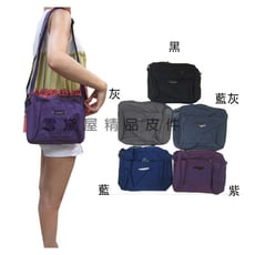 LAOENSI 斜背包小容量主袋+外袋共四層二層拉鍊主袋進口超輕防水尼龍布肩背斜側