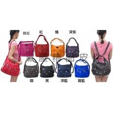 Croun 三用多功能淑女包肩背斜側背後背二層主袋多夾層多袋口設計可放A4資料夾防水尼龍布