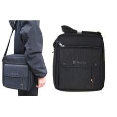 肩背包中容量8吋平板二主袋+外袋共五層防水尼龍布材質肩背斜側隨身包可刷洗