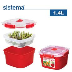 【sistema】紐西蘭進口微波系列方型保鮮盒(1.4L)4入組-1101