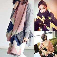 韓系仿羊絨拼色披肩圍巾