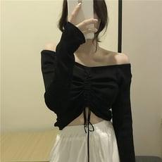 港味復古純色一字領露肩上衣小心機抽繩繫帶長袖針織衫女春裝新款 快速出貨