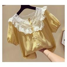 小格子襯衫女短袖新款韓版寬松蕾絲拼接方領甜美娃娃衫上衣夏 快速出貨