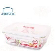 樂扣微波烤箱兩用耐熱玻璃分隔保鮮盒-長方型-950ml- (LLG-445D)