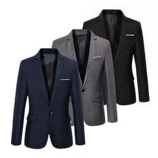 【美國熊】都會時尚 街頭風格 slim窄身剪裁 單釦款休閒西裝外套 [NJK-64]