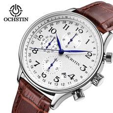 【美國熊】商務男士 真皮錶帶 簡約時尚 真三眼計時 日期窗顯示 腕錶 [WCH-64]