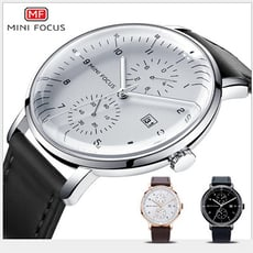 【美國熊】 日本石英機心 大三針 日期顯示 極簡風格 弧形錶面 商務腕錶 [MNF-085]