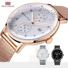 【美國熊】 日本石英機心 大三針 日期顯示 極簡風格 弧形錶面 鋼網錶帶腕錶[MFG-53]