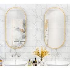 60*100cm  穿衣鏡 化妝鏡 掛鏡  簡約浴室鏡子鐵藝框橢圓衛生間鏡子壁掛衛浴鏡廁所洗漱臺盆鏡